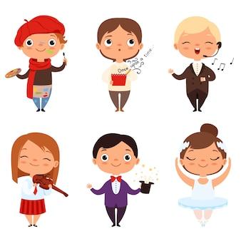 Dibujos animados de varios niños creativos