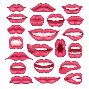 Dibujos animados de vector de labios hermosos labios rojos en beso o sonrisa y moda lápiz labial y besos en la boca encantadora el día de san valentín conjunto ilustración aislada