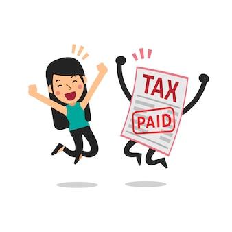 Dibujos animados de vector una mujer pagó impuestos