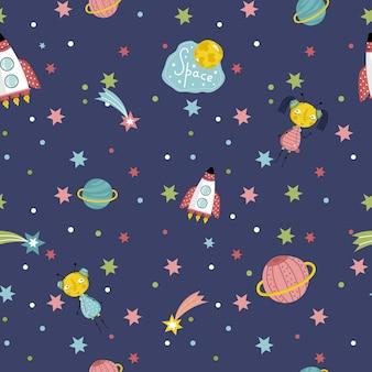 Dibujos animados de vector de patrones sin fisuras de viajes espaciales