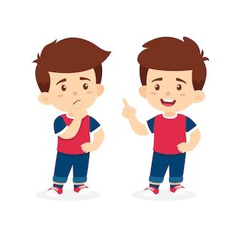 Dibujos animados de vector de pensamiento de niño