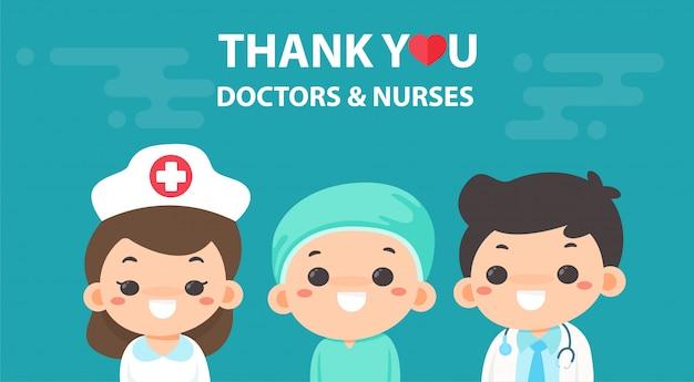 Dibujos animados de vectores agradecen a los médicos y enfermeras que trabajan duro en la lucha contra el virus de la corona.