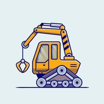 Dibujos animados de vehículo tractor. construcción de transporte aislado