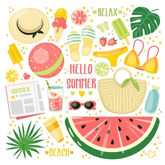 Dibujos animados de verano con accesorios de playa, helados y bebidas.