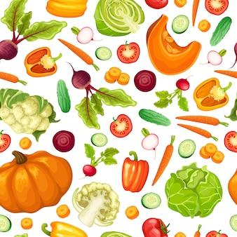 Dibujos animados de verduras frescas de patrones sin fisuras
