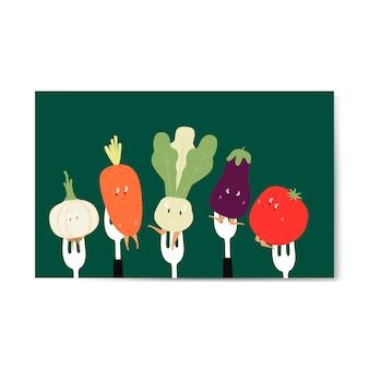 Dibujos animados de verduras frescas en vector de horquillas
