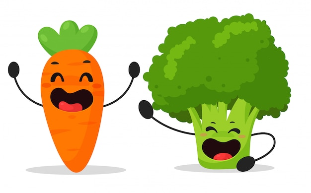 Dibujos animados de verduras, zanahorias y brócoli que están disfrutando