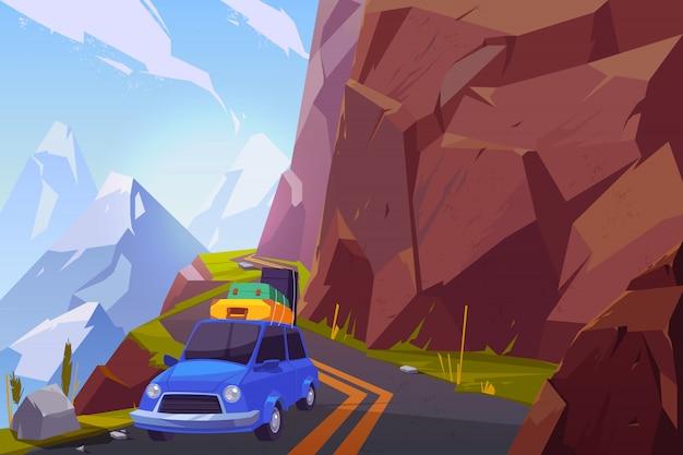 Dibujos animados de viaje en coche de vacaciones de verano