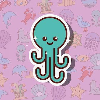 Dibujos animados de la vida del mar pulpo