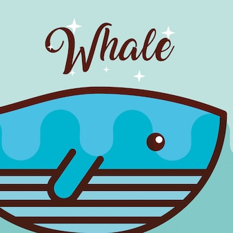 Dibujos animados de la vida marina de ballena
