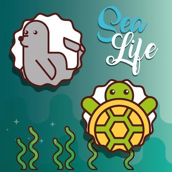 Dibujos animados de la vida marina