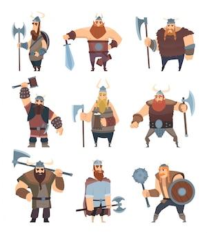 Dibujos animados vikingos mitología de personajes de vector de pueblo nórdico guerrero medieval