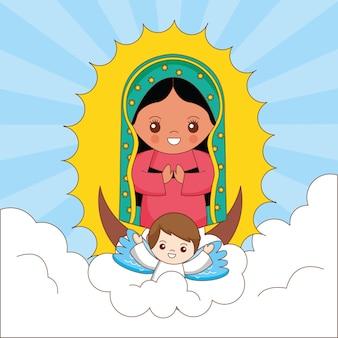 Dibujos animados de la virgen maría de guadalupe con ángel sosteniéndola entre el cielo