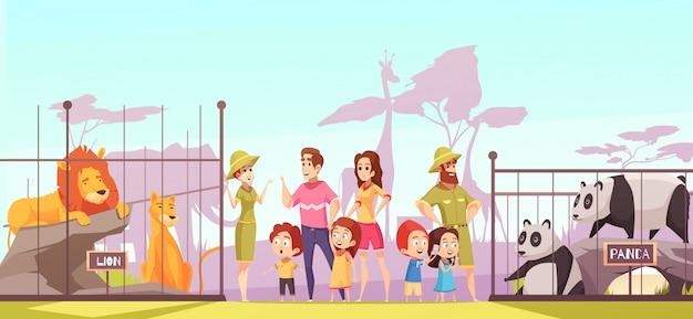 Dibujos animados de visita familiar del zoológico