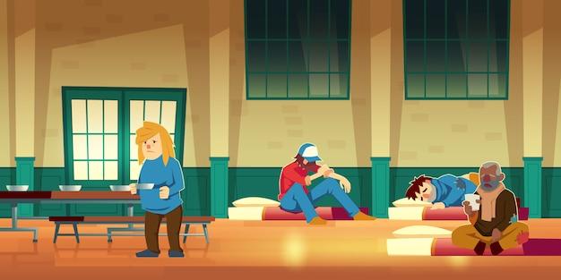 Dibujos animados de vivienda de emergencia, refugio nocturno o residencia temporal para personas sin hogar