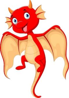 Dibujos animados de vuelo lindo bebé dragón