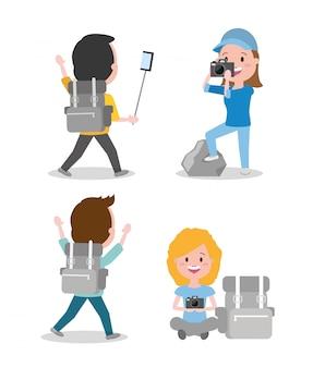 Dibujos animados de wanderlust de personas
