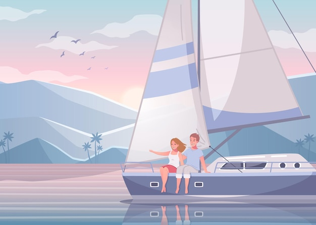 Dibujos animados de yates con hermosos paisajes de bahía exótica con pareja