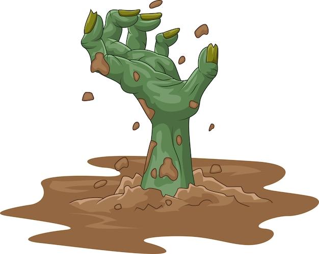 Dibujos animados zombie mano fuera de la tierra