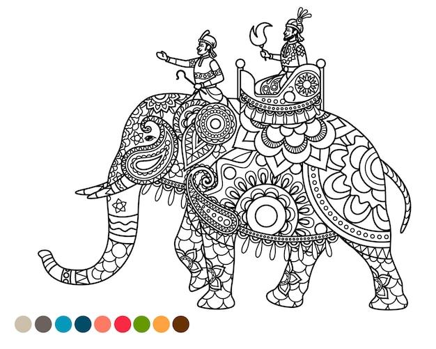 Dibujos para colorear antiestrés con maharaja en elefante.
