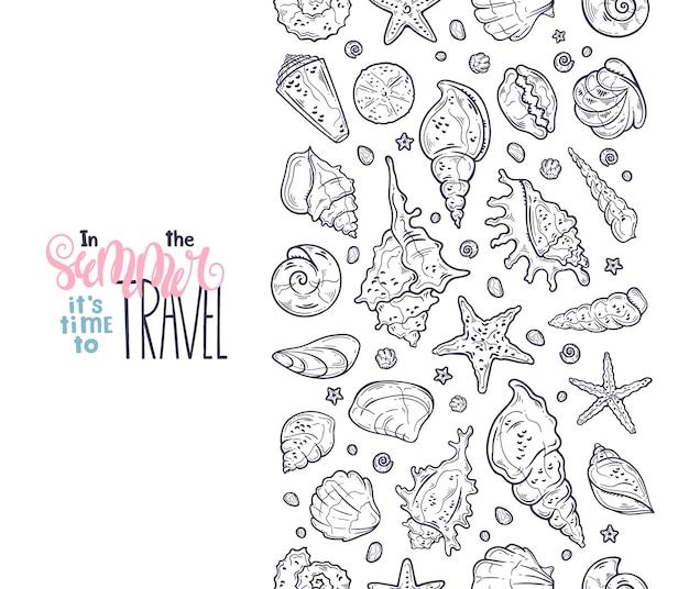 Dibujos de conchas marinas vectoriales. letras: en verano es hora de viajar.