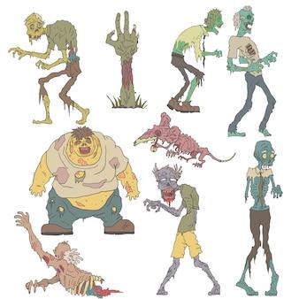 Dibujos contorneados de zombies espeluznantes