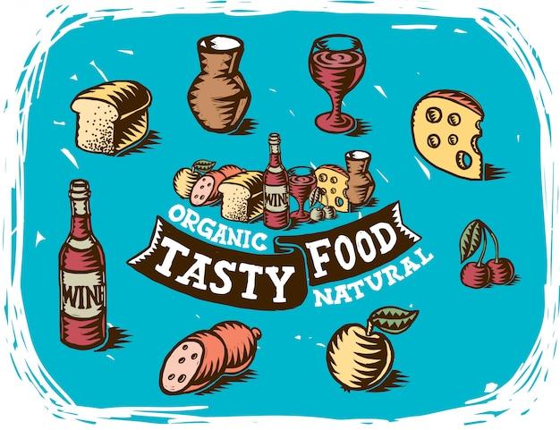 Dibujos hechos a mano de objetos de comida
