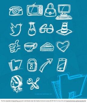 Dibujos iconos drenaje de la mano de vectores