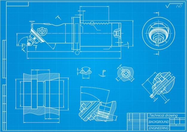 Dibujos de ingeniería mecánica sobre fondo azul barra de mandrinado con ajuste micrométrico técnico ...