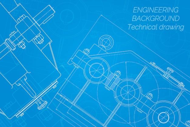 Dibujos de ingeniería mecánica sobre fondo azul. reductor diseño técnico. plano.