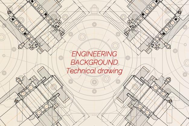 Dibujos de ingeniería mecánica sobre fondo claro. husillo de fresadora. diseño técnico. cianotipo. ilustración vectorial