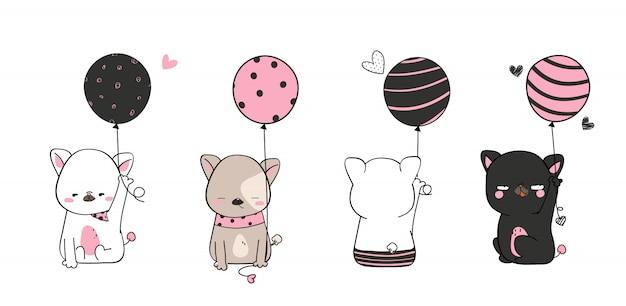 Dibujos de mascotas lindos mascotas dibujadas a mano sosteniendo un globo en la mano usando un disfraz estampado simple gestos divertidos y divertidos sonrisa colorida en patrones e ilustraciones sin costuras