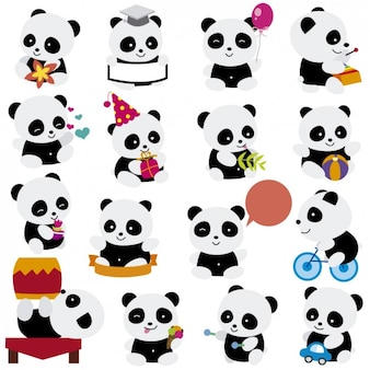Dibujos de pandas jugando
