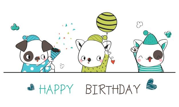 Dibujos de perros lindos mascotas dibujadas a mano sosteniendo un globo