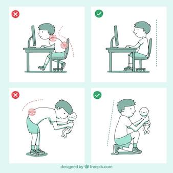 Dibujos con posturas correctas e incorrectas