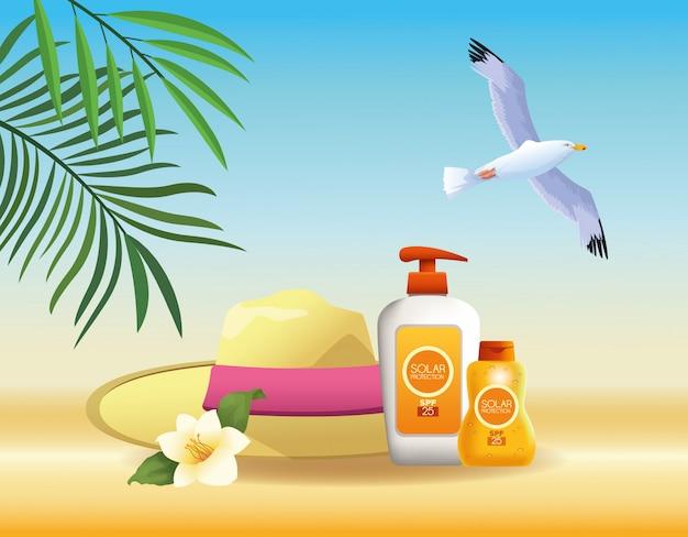 Dibujos de verano y productos de playa.