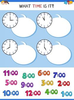 Diciendo el reloj de tiempo cara de dibujos animados juego