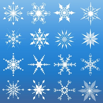 Dieciséis diseños diferentes de copos de nieve.