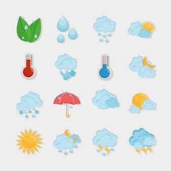 Dieciséis iconos de previsión meteorológica