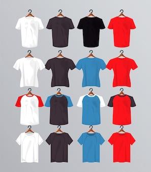 Dieciséis maquetas de camisetas colgadas con pinzas para la ropa.
