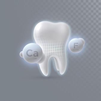 Diente 3d realista con partículas de calcio y flúor aisladas sobre fondo transparente