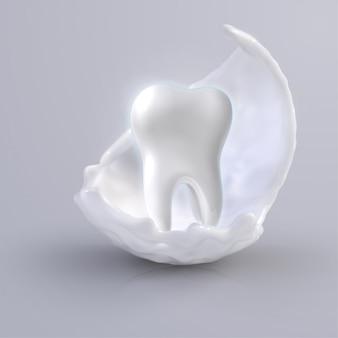 Diente blanco brillante, concepto de blanqueamiento de diente humano. protección de los dientes, cuidado dental icono médico dental. ilustración 3d