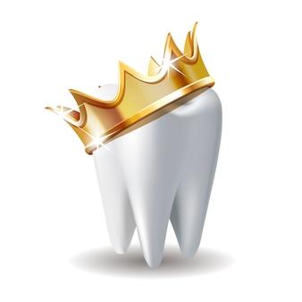 Diente blanco realista en corona de oro aislada en blanco