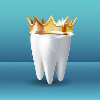 Diente blanco realista en corona de oro sobre fondo azul.