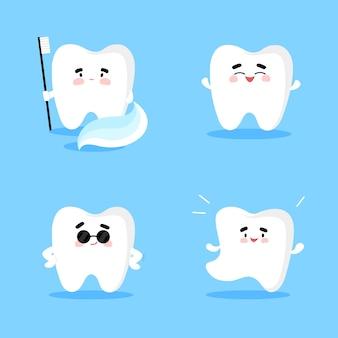 Diente con cepillo de dientes sonriendo y bailando, reglas de higiene bucal en estilo plano de dibujos animados