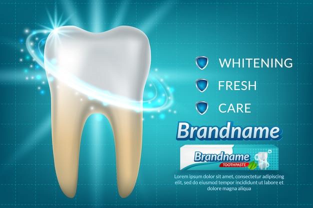 Diente en la crema dental cartel de anuncios.