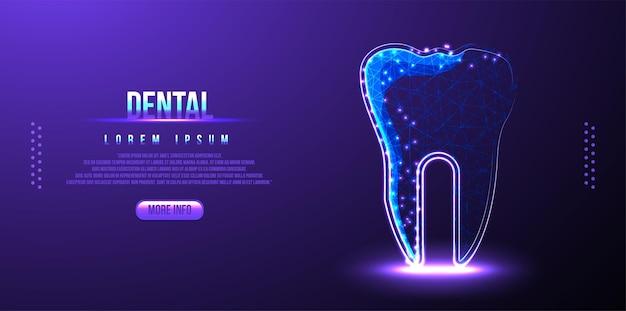 Diente dental, estructura de alambre de baja poli