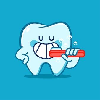 Diente divertido con un personaje de dibujos animados de vector de cepillo de dientes aislado sobre fondo.