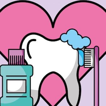 Diente de enjuague bucal amor odontología