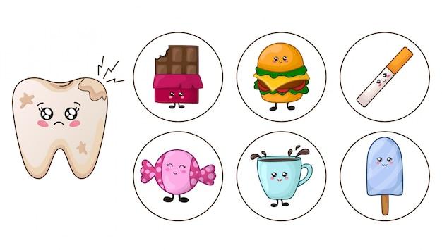 Diente kawaii - caries y comida chatarra, concepto de cuidado dental
